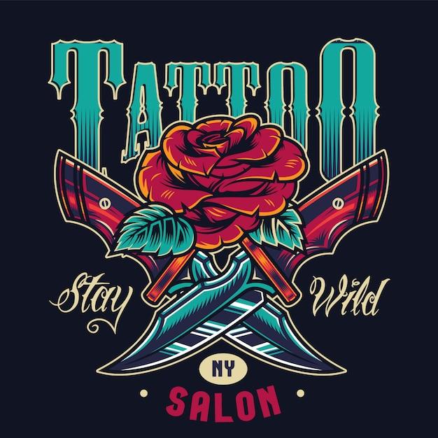 Logotipo colorido do estúdio de tatuagem vintage Vetor grátis