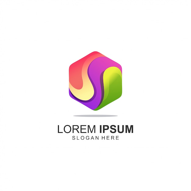 Logotipo colorido polígono Vetor Premium