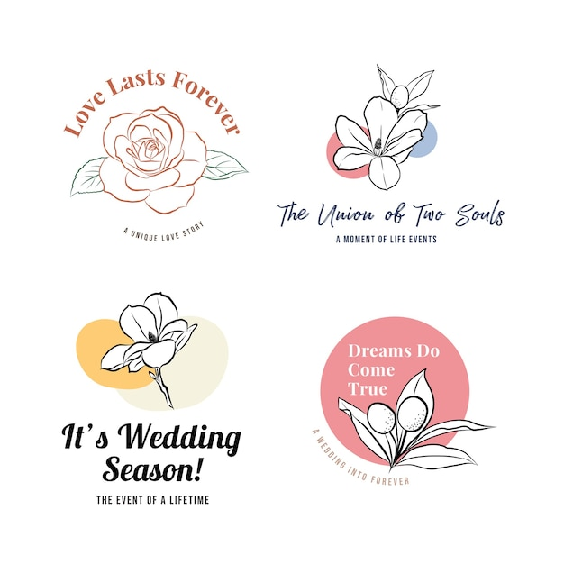 Logotipo com cerimônia de casamento para branding e ícone Vetor grátis