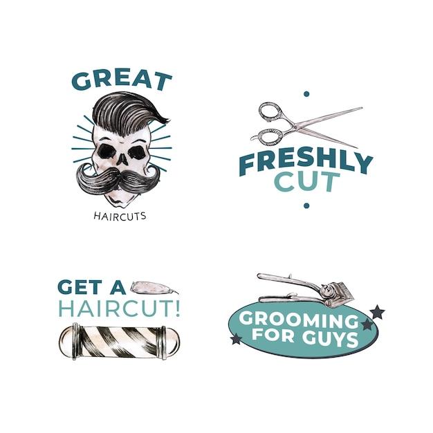 Logotipo com design de conceito de barbeiro para branding. Vetor grátis