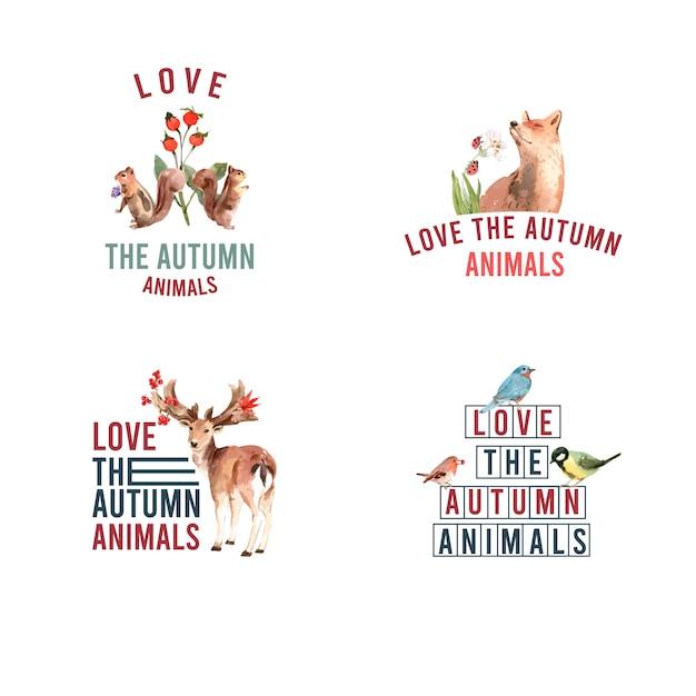 Logotipo com floresta de outono e animais Vetor grátis