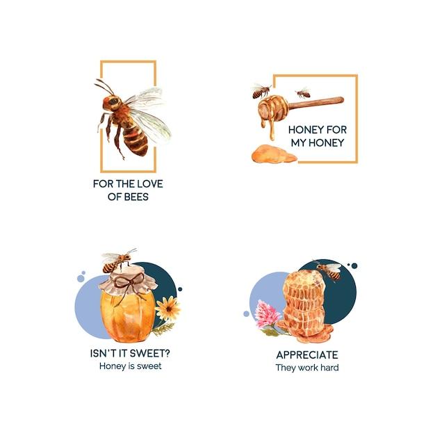 Logotipo com mel para aquarela de branding e marketing Vetor grátis