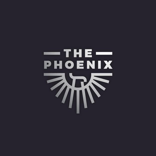 Logotipo com phoenix Vetor Premium