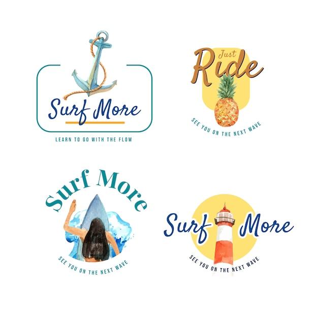 Logotipo com pranchas de surf na praia Vetor grátis