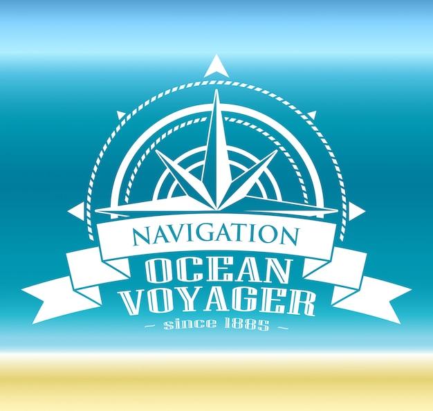 Logotipo corporativo com rosa dos ventos. símbolo de navegação. Vetor Premium