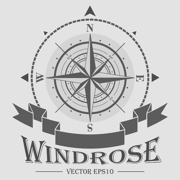 Logotipo corporativo com windrose Vetor Premium