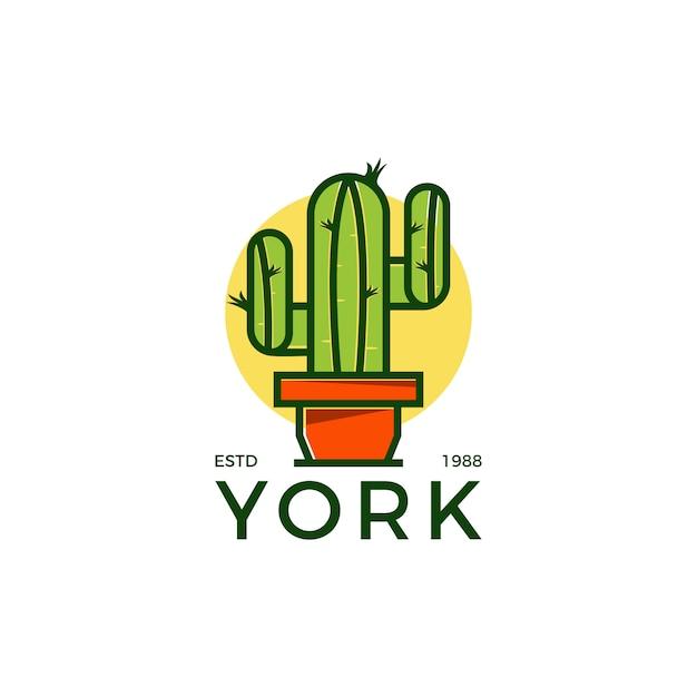 Logotipo criativo cactus Vetor Premium