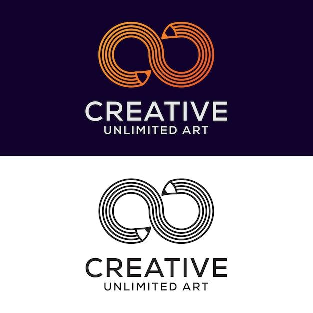 Logotipo criativo lápis infinito, desenho, arte, design de logotipo de educação Vetor Premium