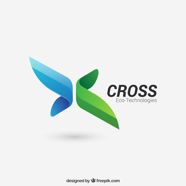 Logotipo Cruz abstrata Vetor Premium