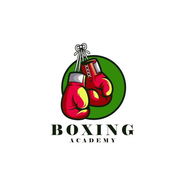 Logotipo da academia de boxe Vetor Premium
