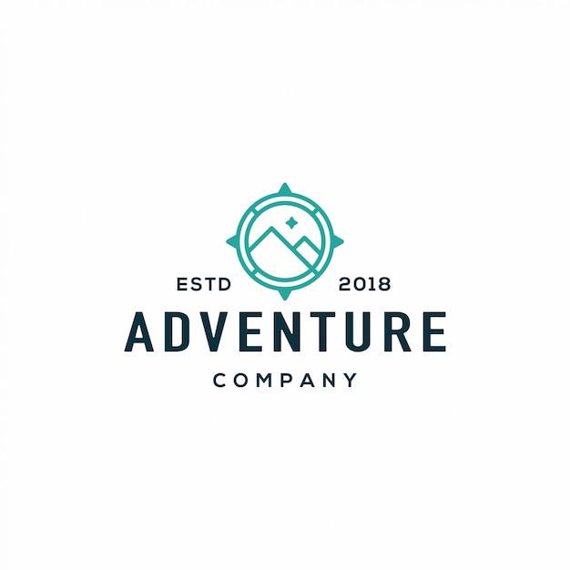 Logotipo da adventure compass Vetor Premium