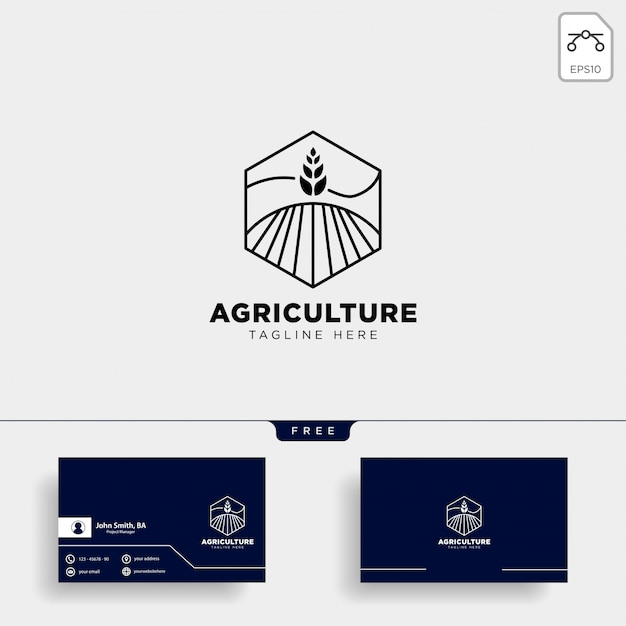Logotipo da agricultura e modelo de cartão Vetor Premium