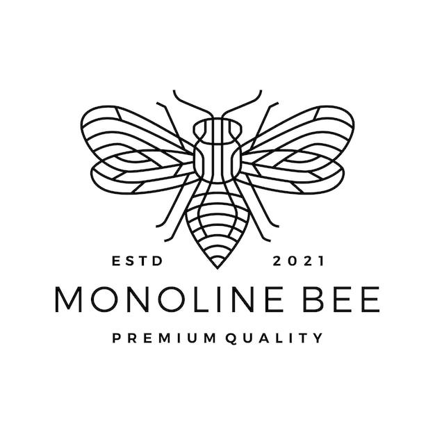 Logotipo da arte do contorno da linha monoline abelha Vetor Premium
