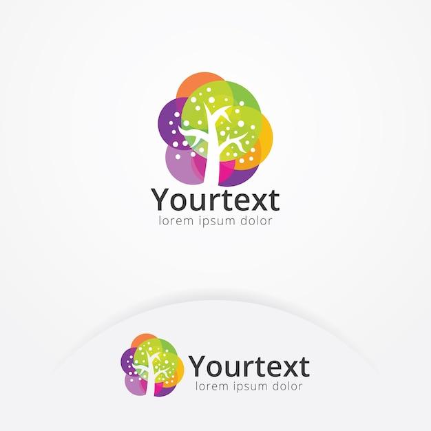Logotipo da árvore colorida Vetor Premium