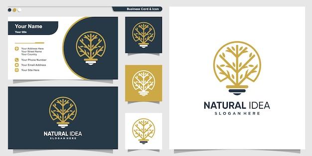 Logotipo da árvore com estilo de arte de linha e modelo de design de cartão de visita, árvore, ideia, inteligente Vetor Premium