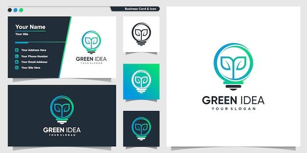 Logotipo da árvore com estilo gradiente moderno e modelo de design de cartão de visita, gradiente, natureza, inteligente Vetor Premium