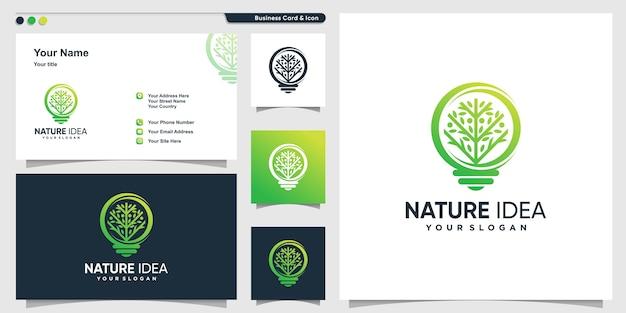 Logotipo da árvore com estilo moderno de forma gradiente e modelo de design de cartão de visita, árvore, ideia, inteligente Vetor Premium