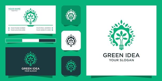 Logotipo da árvore com estilo verde inteligente e design de cartão de visita Vetor Premium
