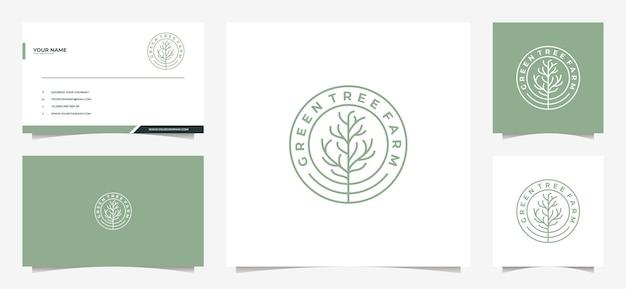 Logotipo da árvore moderna e cartão de visita Vetor Premium