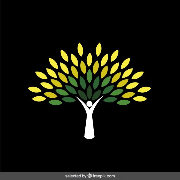 Logotipo da árvore verde abstrato Vetor grátis
