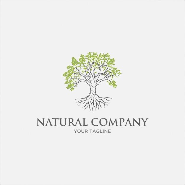 Logotipo da árvore verde com folha verde clara e ramo cinza Vetor Premium