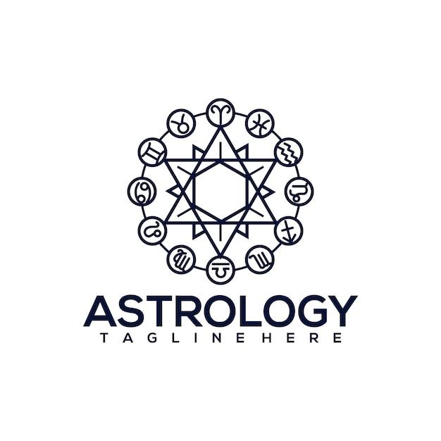 Logotipo da astrologia Vetor Premium