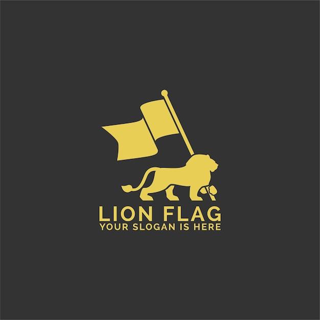 Logotipo da bandeira do leão Vetor Premium