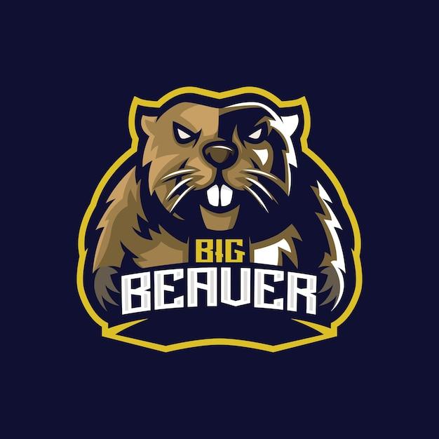 Logotipo da beaver e sport Vetor Premium