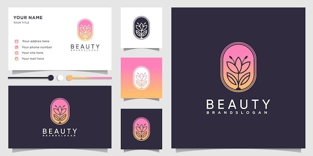 Logotipo da beleza com conceito moderno de gradiente e modelo de design de cartão de visita Vetor Premium
