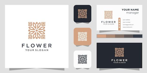 Logotipo da beleza da flor e cartão de visita. Vetor Premium