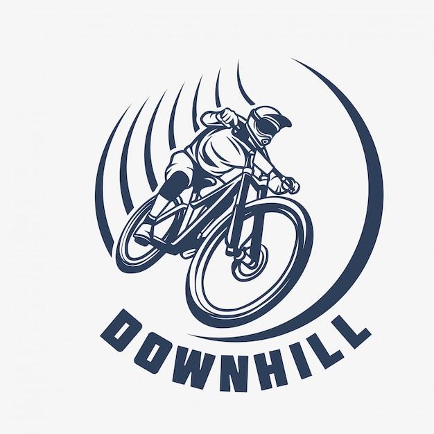 Logotipo da bicicleta de montanha em declive Vetor Premium