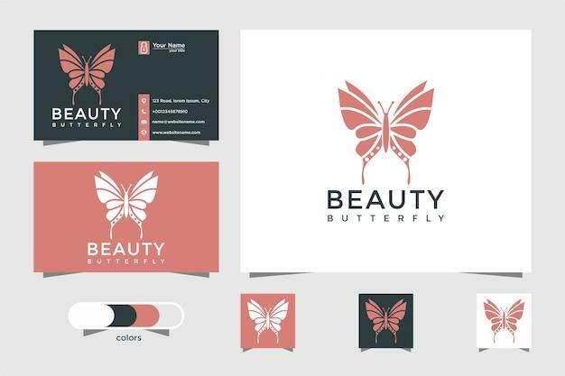 Logotipo da borboleta com o conceito de beleza e cartão de visita Vetor Premium