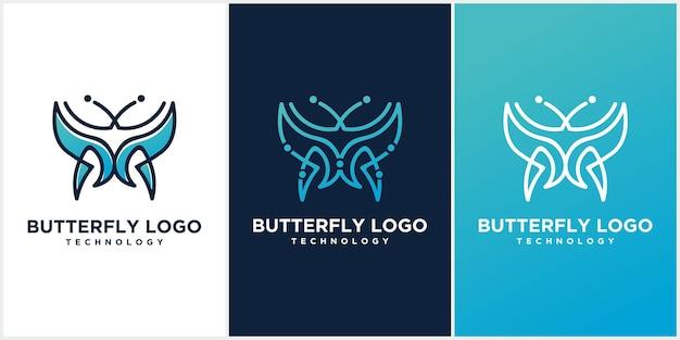Logotipo da borboleta. design de logotipo de linha de luxo. conceito de logotipo de linha de borboleta minimalista Vetor Premium