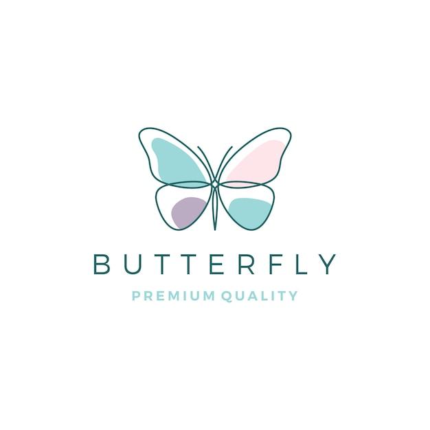 Logotipo da borboleta Vetor Premium
