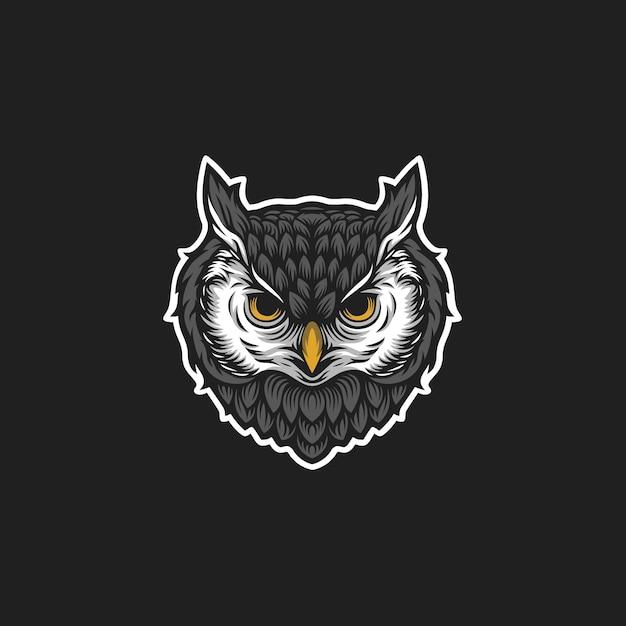 Logotipo da cabeça da coruja Vetor Premium