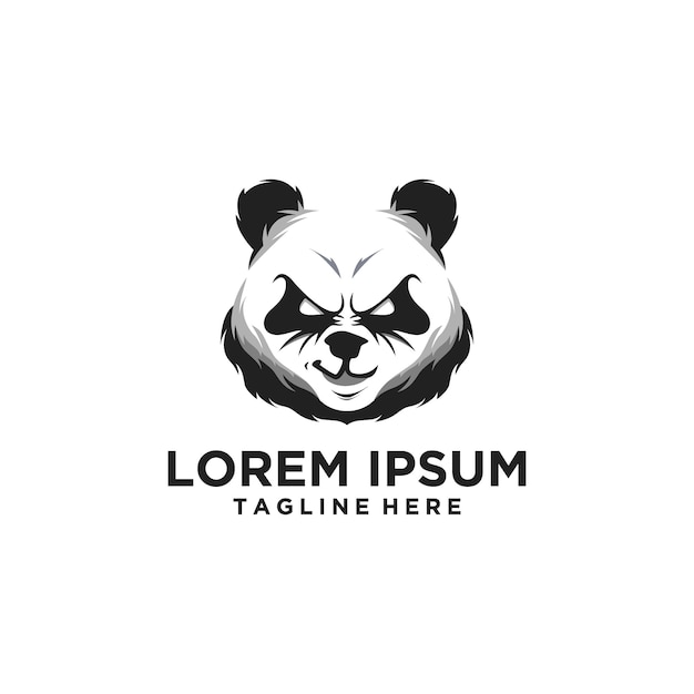 Logotipo da cabeça da panda Vetor Premium