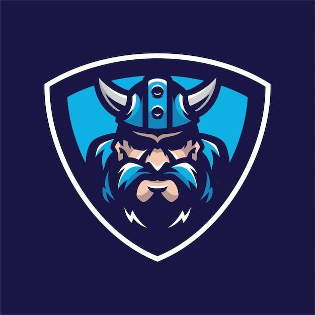 Logotipo da cabeça de mascot viking Vetor Premium