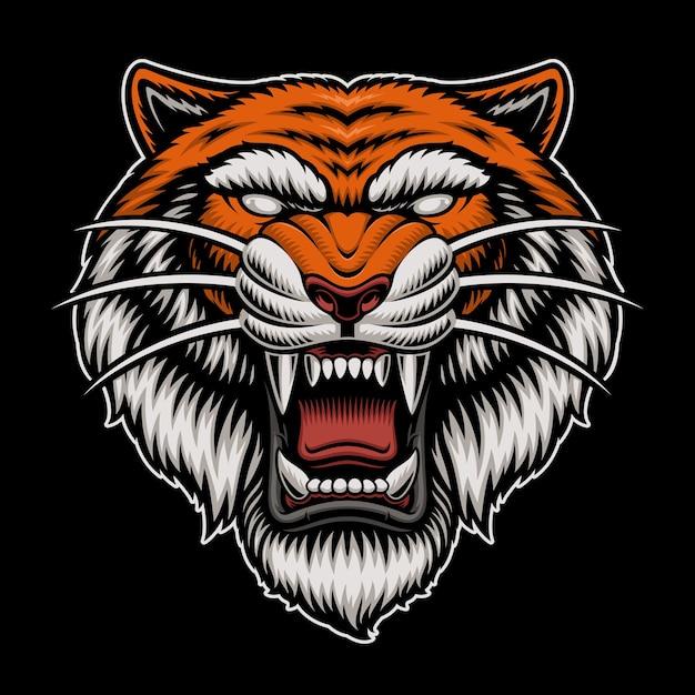 Logotipo da cabeça do tigre isolado no escuro Vetor Premium