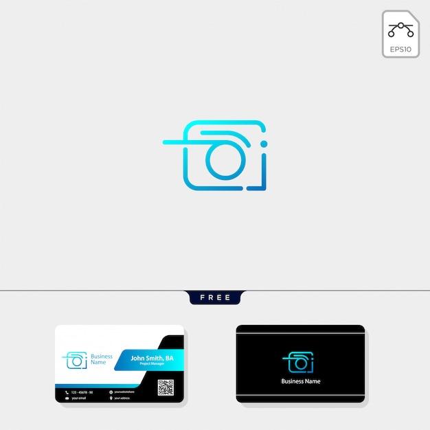 Logotipo da câmera e design de cartão de visita livre Vetor Premium