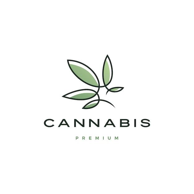 Logotipo da cannabis com linha contínua Vetor Premium