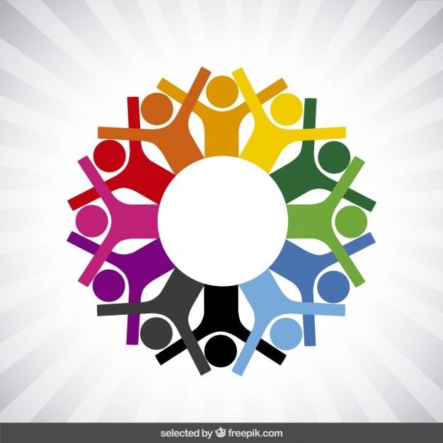Logotipo da caridade com ícones humanos Vetor grátis
