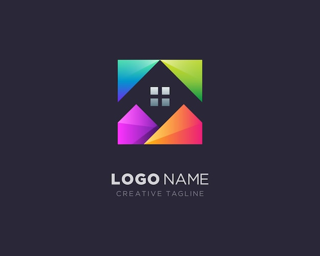 Logotipo da casa colorida criativa Vetor Premium