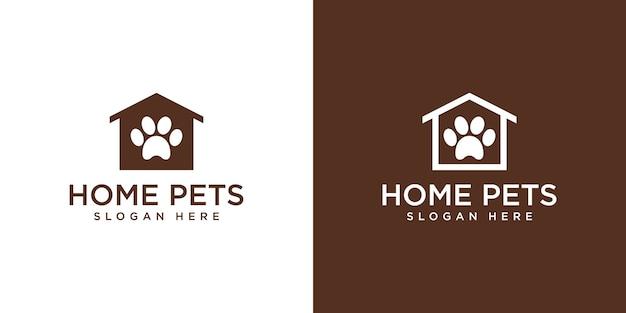 Logotipo da casa de animais de estimação Vetor Premium