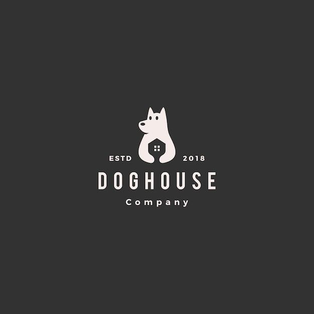 Logotipo da casa de cachorro Vetor Premium