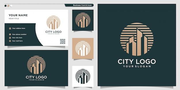 Logotipo da cidade com conceito novo e exclusivo e modelo de design de cartão de visita Vetor Premium