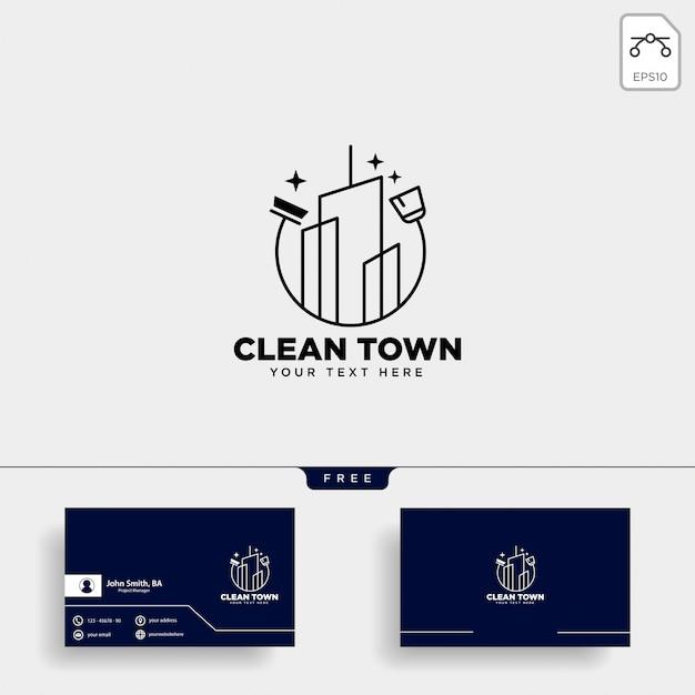 Logotipo da cidade de serviço de limpeza Vetor Premium