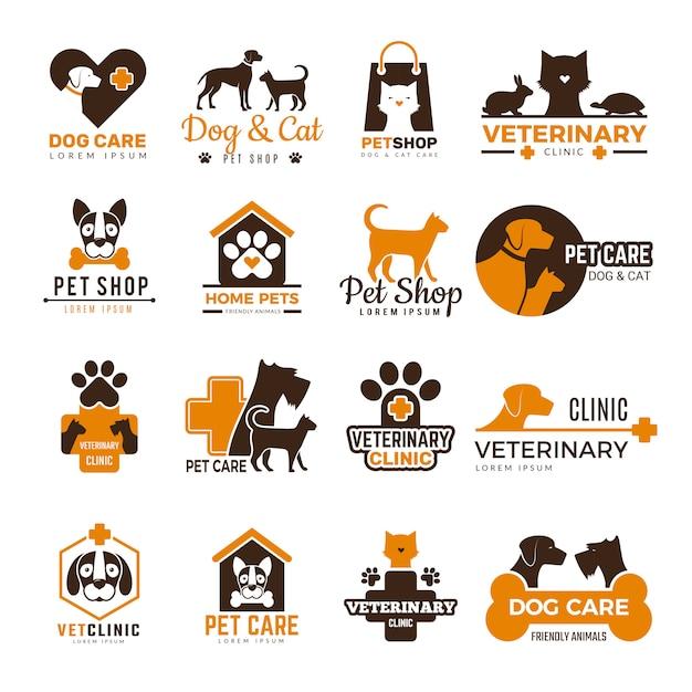 Logotipo da clínica veterinária. animais de estimação loja gatos cães animais domésticos proteção amigável coleção de símbolos engraçados Vetor Premium