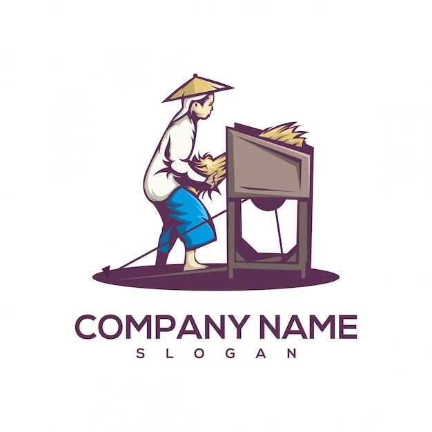 Logotipo da colheita Vetor Premium