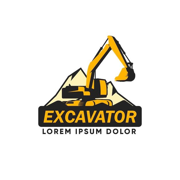 Logotipo da construção da escavadeira Vetor grátis