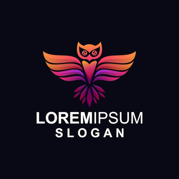 Logotipo da coruja gradiente Vetor Premium